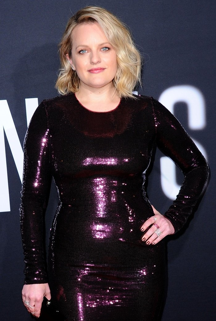 Elisabeth Moss's way too tight Tom Ford sequin long-sleeve dress