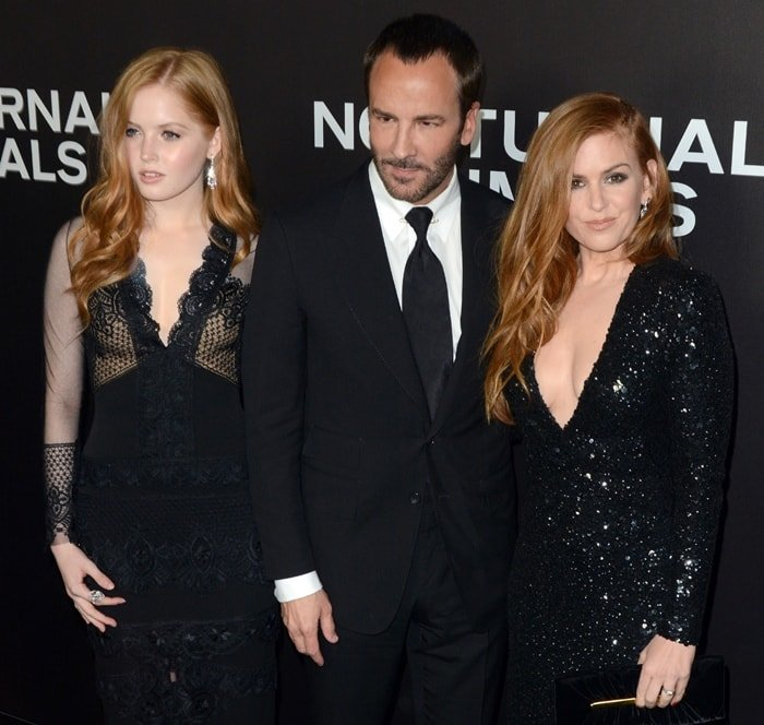 Actress Ellie Bamber, director Tom Ford, and actress Isla Fisher attend the Nocturnal Animals