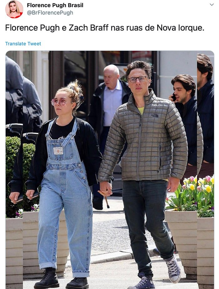 Florence Pugh and Zach Braff holding hands while walking around SoHo neighborhood in April 2019