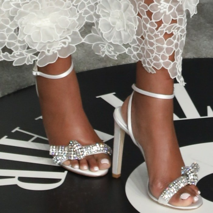 Gabrielle Union shows off her feet in Jimmy Choo's Thyra sandals