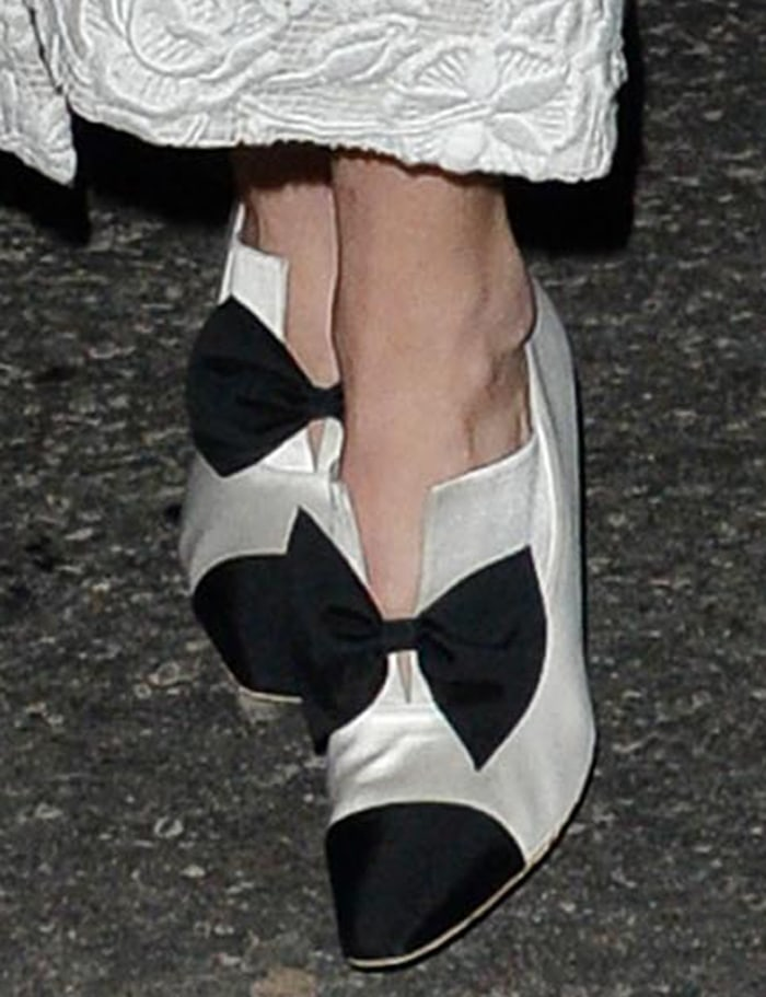 Gigi Hadid completes her black-and-white look with Chanel tuxedo pumps