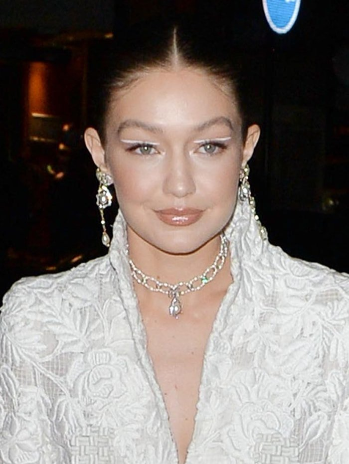 Gigi Hadid wears negative space makeup with white line on her eyelids