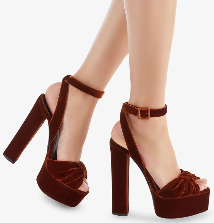 Burnt brown velvet and leather Betty sandals from Giuseppe Zanotti featuring a peep toe, a platform sole, a branded insole, a high block heel and an ankle strap with a side buckle fastening