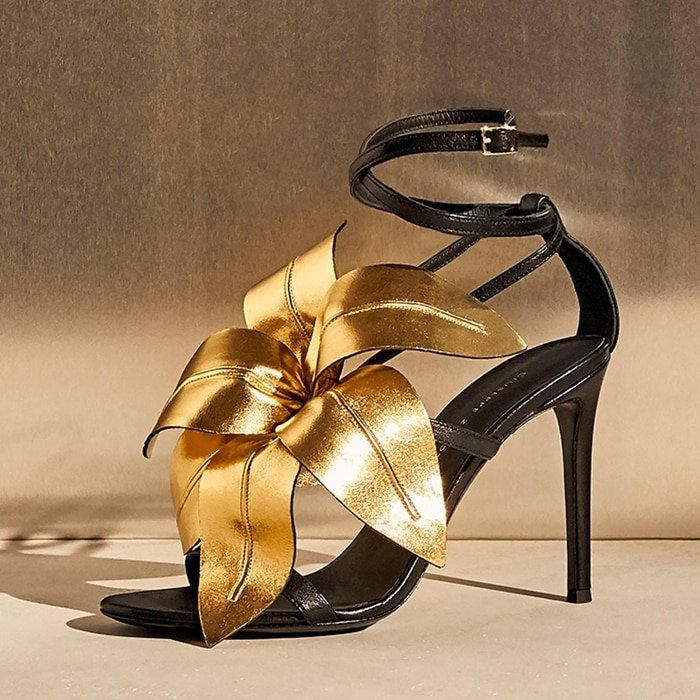 Lillium from Giuseppe Zanotti features a gorgeous, oversized leather-constructed lily