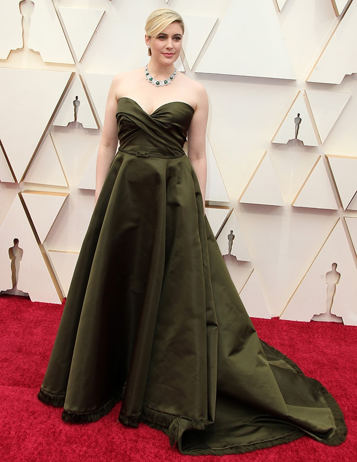 Greta Gerwig goes for old Hollywood style in olive green Dior ball gown