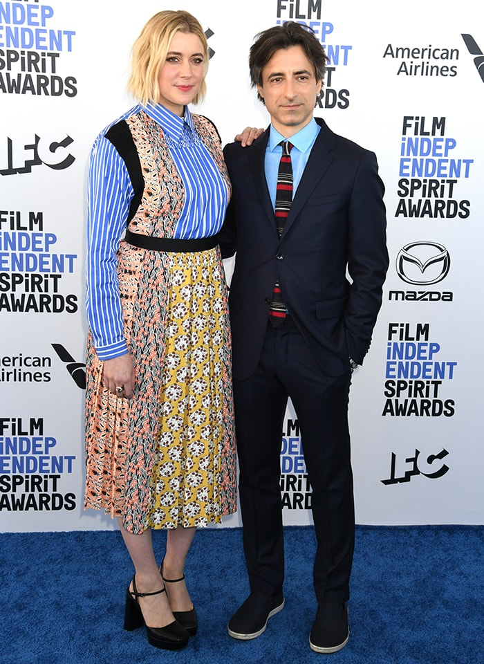 Greta Gerwig and Noah Baumbach at the 2020 Film Independent Spirit Awards in Santa Monica on February 8, 2020