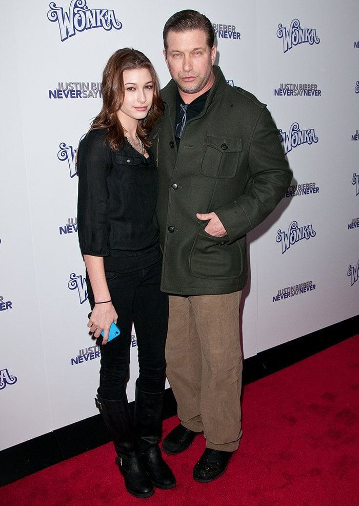 Hailey Baldwin and her father Stephen Baldwin attend the New York premiere of Justin Bieber's Never Say Never concert film on February 2, 2011