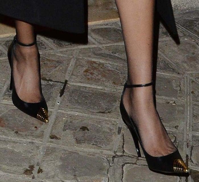 Hailey Bieber slips into a pair of Saint Laurent pumps