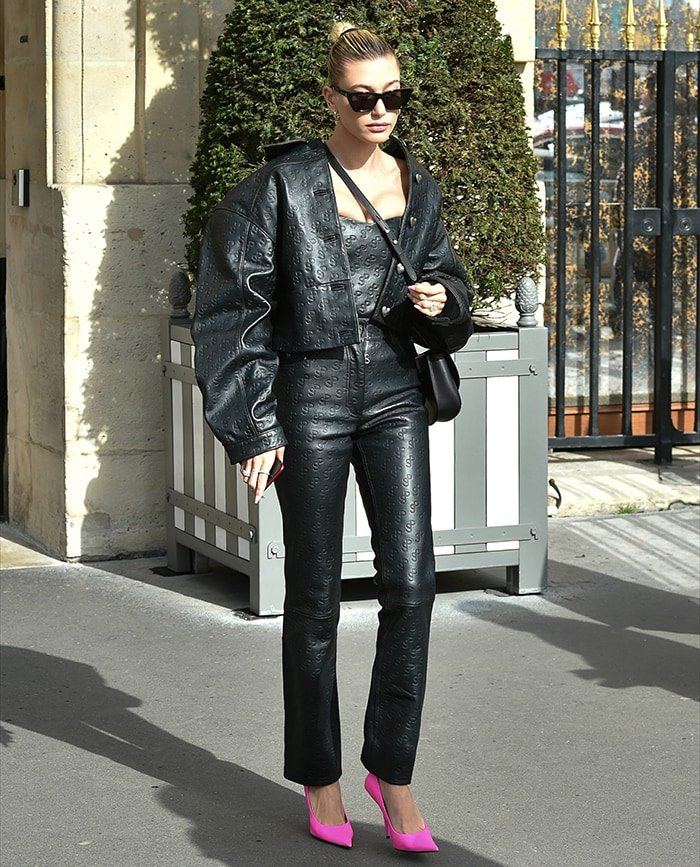 Hailey Bieber nails biker chic in Saks Potts leather outfit during Paris Fashion Week on February 25, 2020