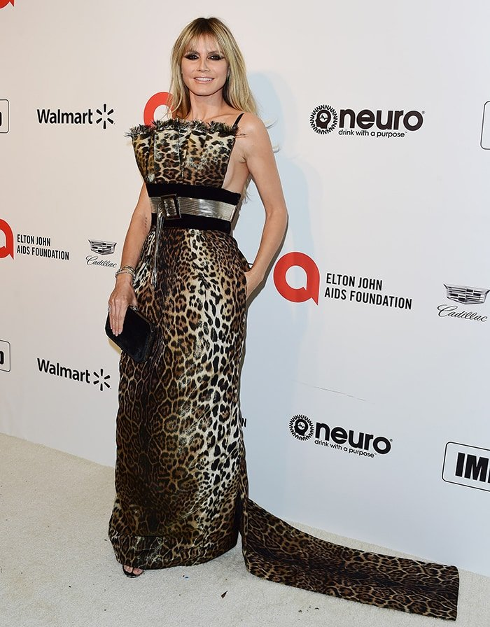 Heidi Klum in Jean Paul Gaultier animal-printed dress at the Elton John Oscar Viewing Party 2020 on February 9, 2020