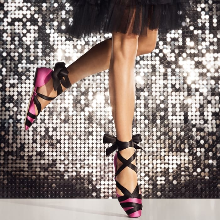 LOUREN FLAT Bubblegum-Pink Satin Ballet Flats with Black Ribbon