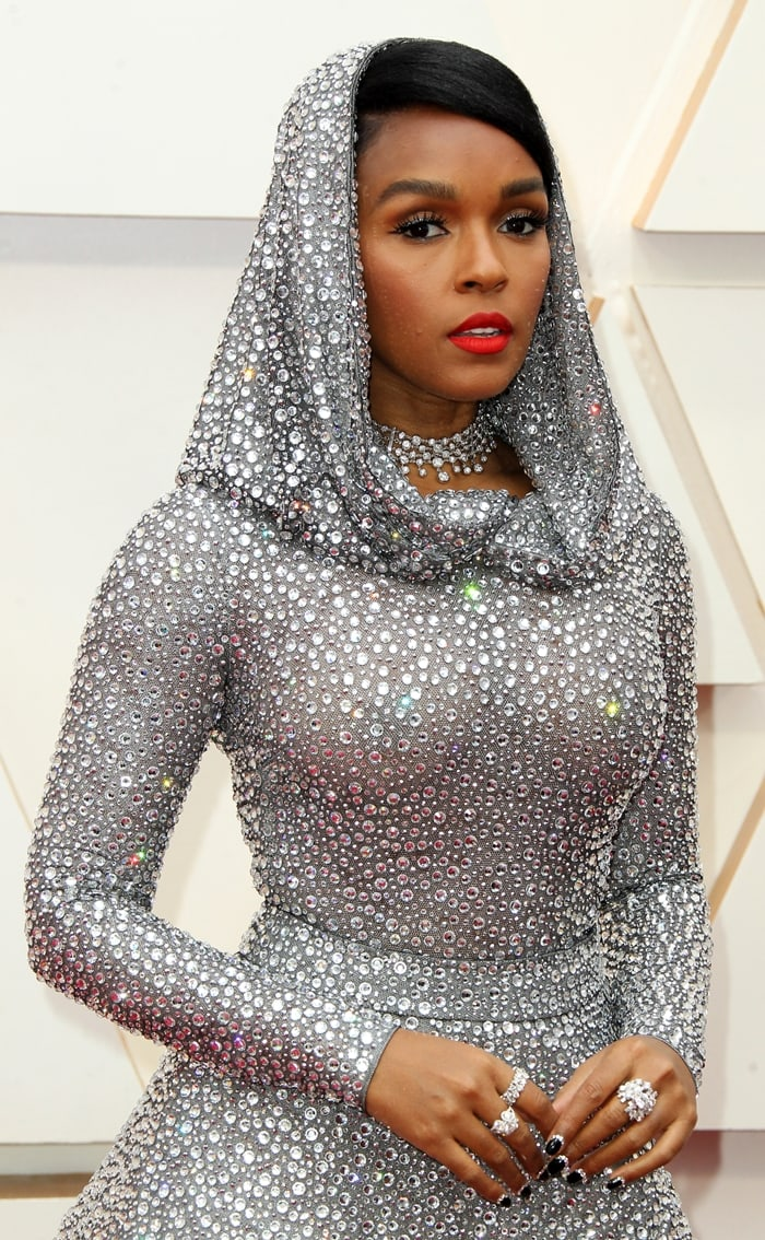 Janelle Monae's hooded silver dress that took 600 hours to make