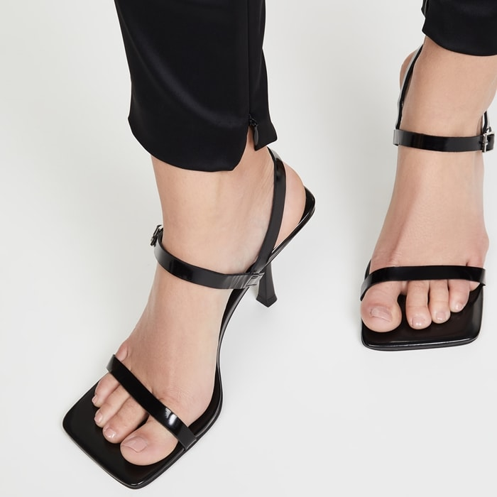 These Jeffrey Campbell sandals are a modern update on a classic strappy silhouette—courtesy of a subtly sculpted heel and squared-off toe