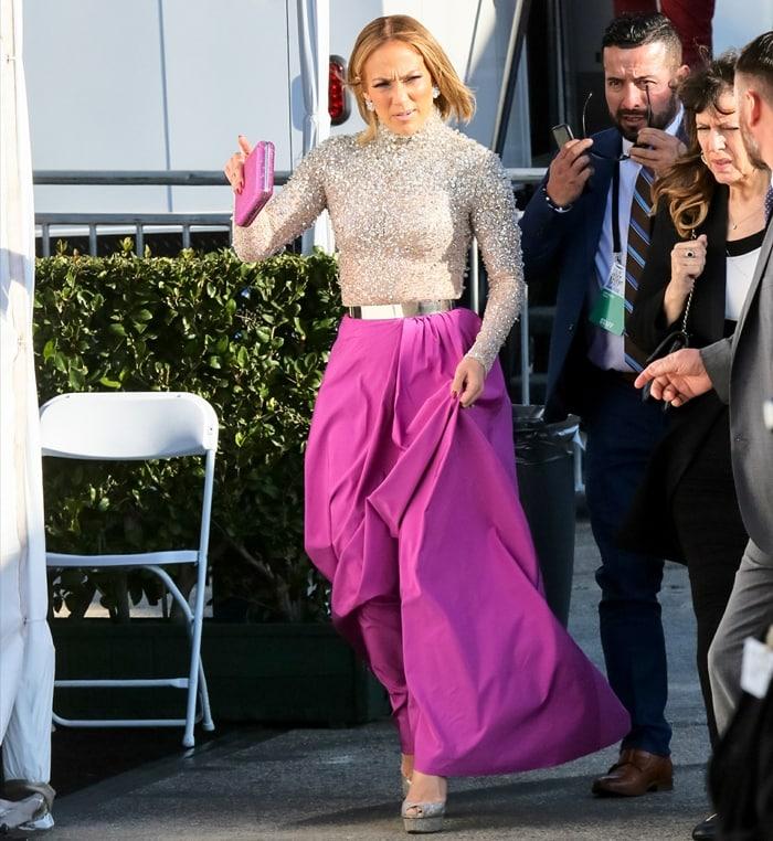 Jennifer Lopez arriving at the 2020 Film Independent Spirit Awards