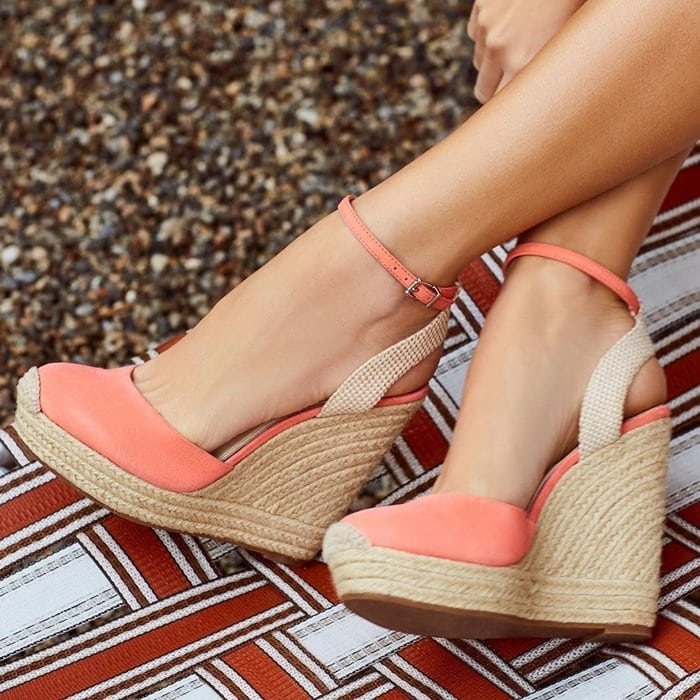 Bring your look to life in the Jessica Simpson Zestah espadrille wedges featuring a sleek textile upper