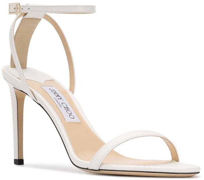 White Jimmy Choo Minny 85 Leather Sandals
