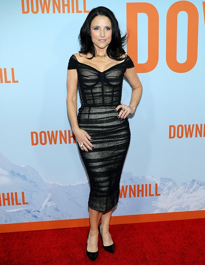 Julia Louis-Dreyfus shows off her figure in Dolce & Gabbana dress at the NY premiere of Downhill on February 12, 2020