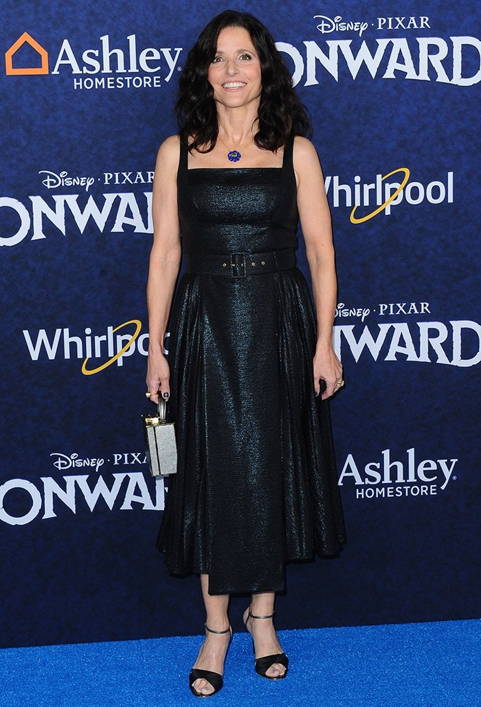 Julia Louis-Dreyfus in Emilia Wickstead dress at the Los Angeles premiere of Onward on February 18, 2020