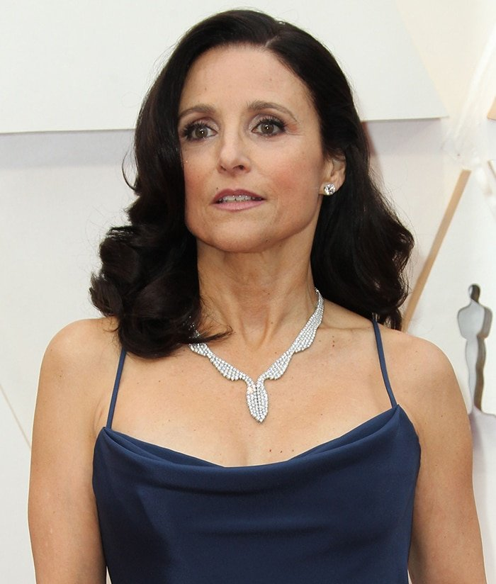 Julia Louis-Dreyfus channels old Hollywood glamour with side-parted curls