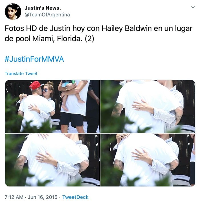 Justin Bieber and Hailey Baldin hug poolside in Miami during summer of 2015
