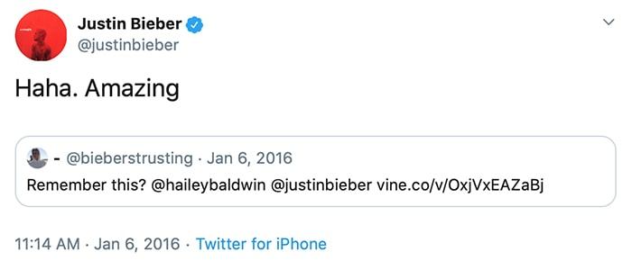Justin retweets a link to a video of his first meeting with Hailey