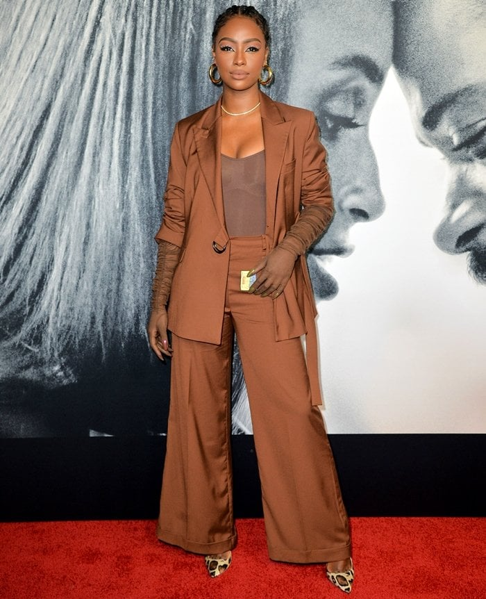 Justine Skye attends the world premiere of The Photograph at SVA Theater
