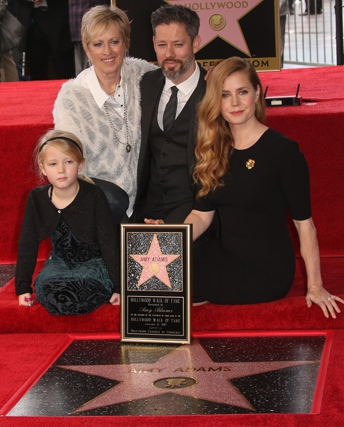 Amy Adams with her mother Kathryn Adams, husband Darren Le Gallo, and daughter Aviana Le Gallo attend the ceremony honoring Amy Adams with a star on the Hollywood Walk of Fame