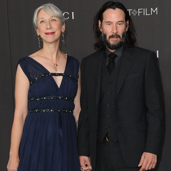 Keanu Reeves and his girlfriend Alexandra Grant arrive at the 2019 LACMA Art + Film Gala Presented By Gucci