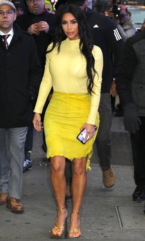 Kim Kardashian styled a Bottega Veneta leather top with a Roberto Cavalli suede skirt