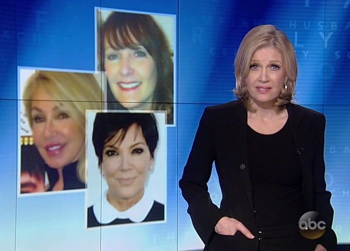 Caitlyn Jenner's ex-wives Kris Jenner, Chrystie Crownover, and Linda Thompson featured on Bruce Jenner's 20/20 exclusive interview with Diane Sawyer at ABC News