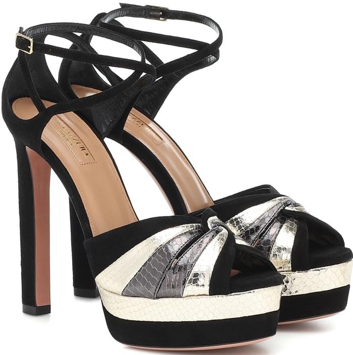 Aquazzura plays with texture for instant allure in these black La Di Da sandals