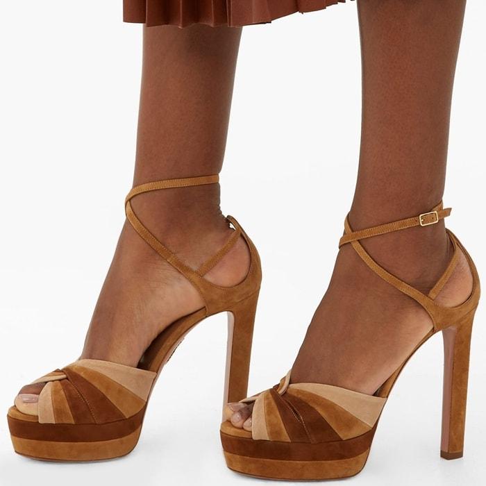 La Di Da Tri-Tone Suede Platform Sandals