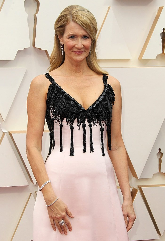 Laura Dern teams her black-and-pink dress with Niwaka jewelry