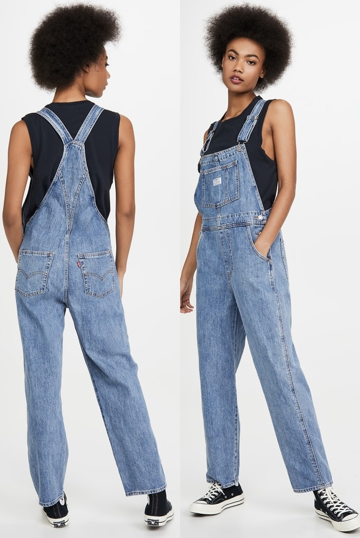 Always-cool Levi's overalls, featuring a comfy, slouchy fit and lightly faded wash