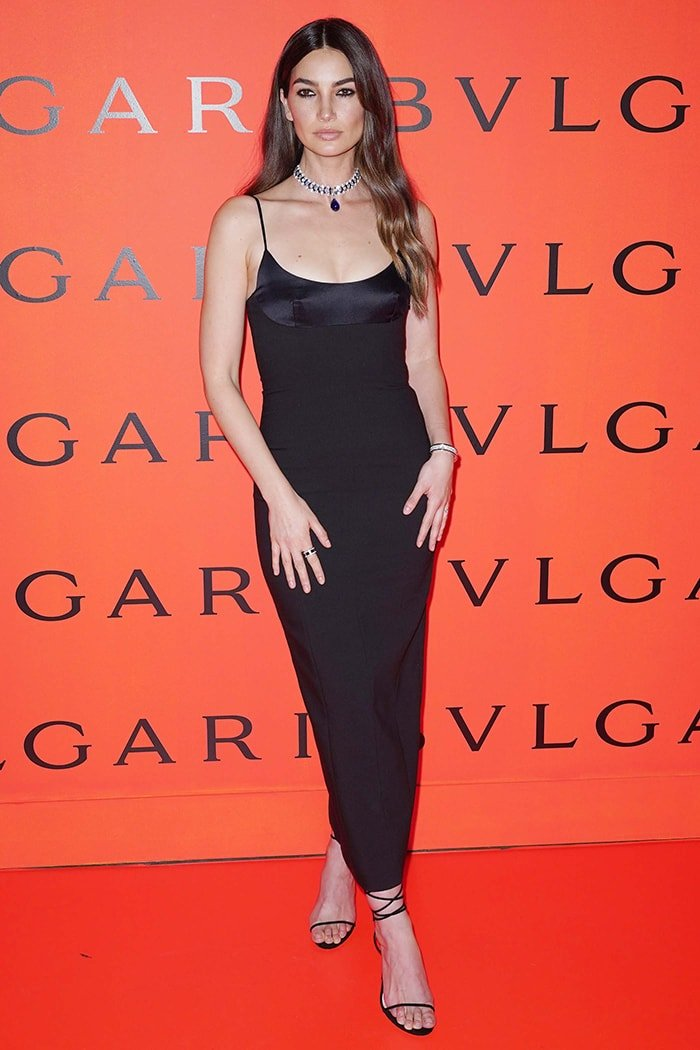 Lily Aldridge in Alexander Wang at the Bvlgari x B.zero1 Rock collection debut party on February 6, 2020
