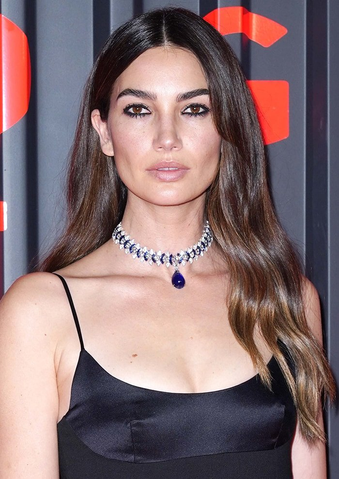 Lily Aldridge lets her hair down and wears dark eyeliner around her eyes