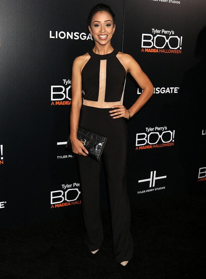 Liza Koshy in Jovani outfit at the Boo! A Madea Halloween LA premiere on October 17, 2016