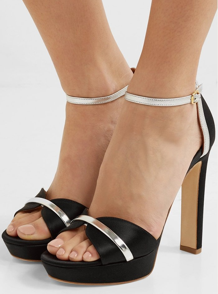 Malone Souliers' signature metallic leather accents these Miranda sandals