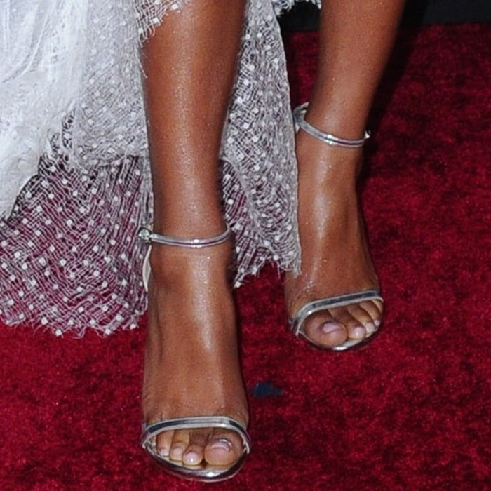 Marsai Martin showed off her feet in metallic ankle-strap sandals