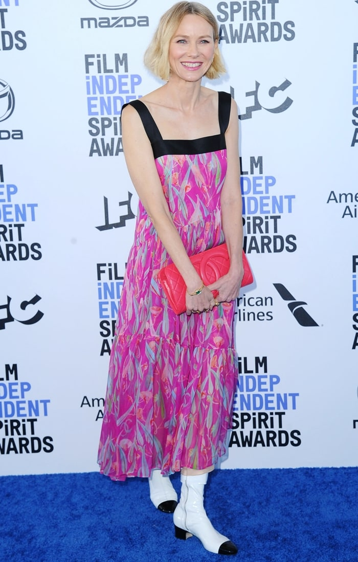 Naomi Watts wearing offensively ugly Chanel boots at the 2020 Film Independent Spirit Awards