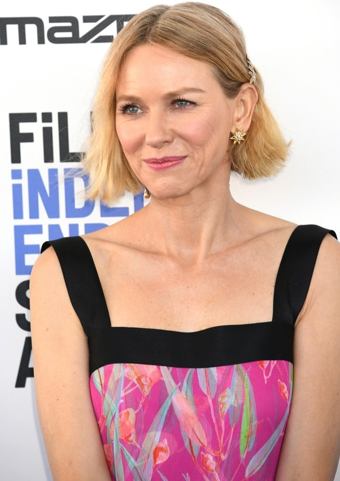 Naomi Watts wore a lovely fuchsia floral watercolor print Chanel Resort 2020 dress with black straps