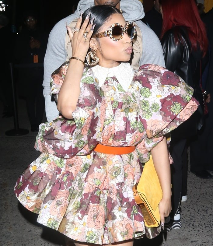 Nicki Minaj's ruffled mini dress with embroidered collar and silk tie detail