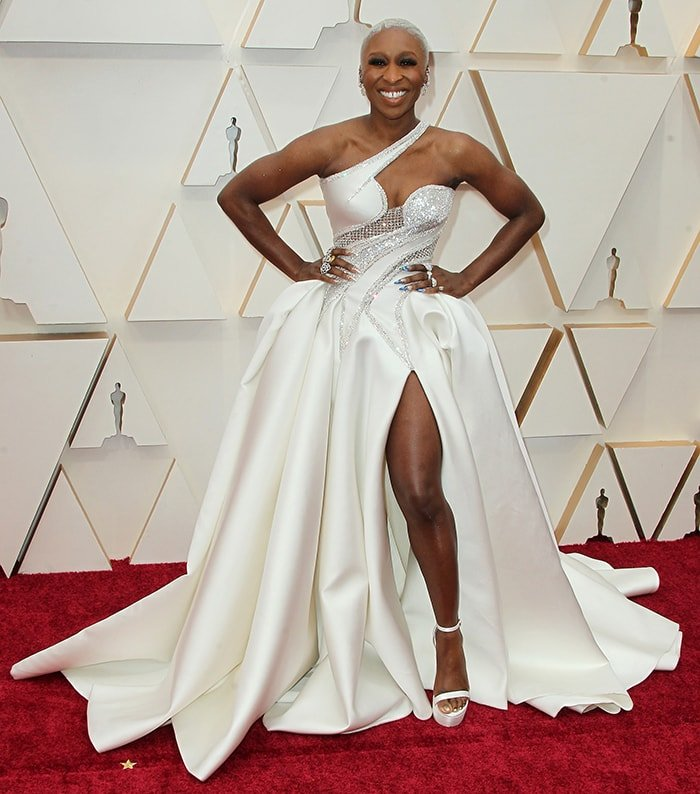 Cynthia Erivo in Atelier Versace white gown at the 92nd Annual Academy Awards on February 9, 2020