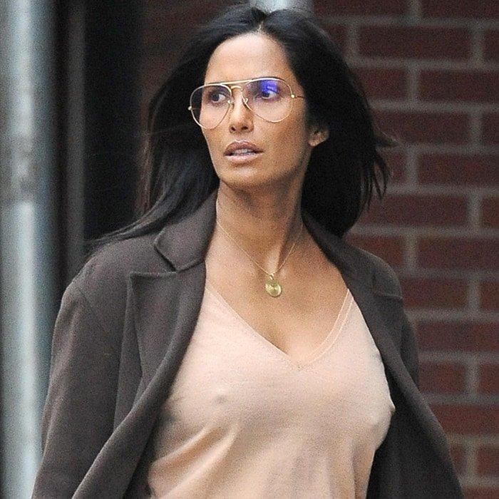 Braless Padma Lakshmi is lightly dressed in New York City on January 28, 2020