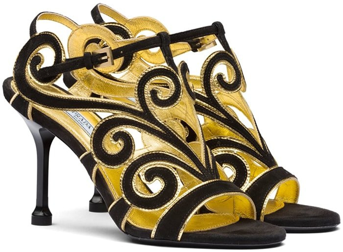 Prada Suede Sandals With Curvy Baroque Details