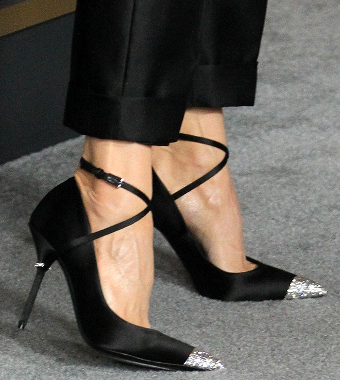 Renee Zellweger adds sparkle to her business-chic look with Tom Ford pumps