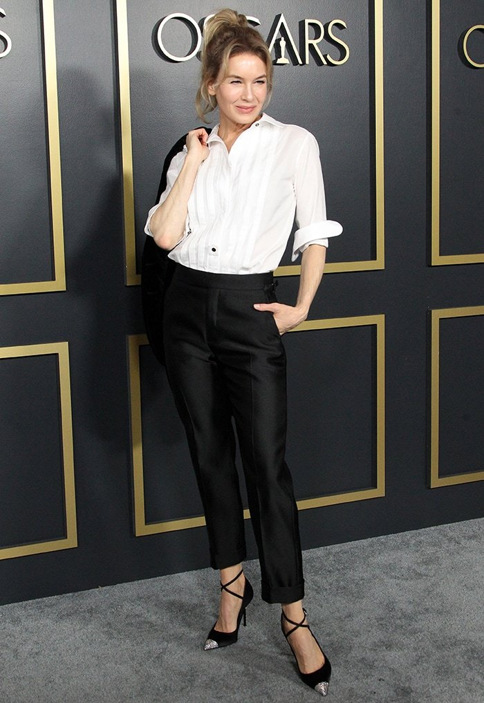 Renee Zellweger looks sophisticated in Tom Ford suit and pleated blouse at the Oscars 2020 Nominees Luncheon on January 27, 2020