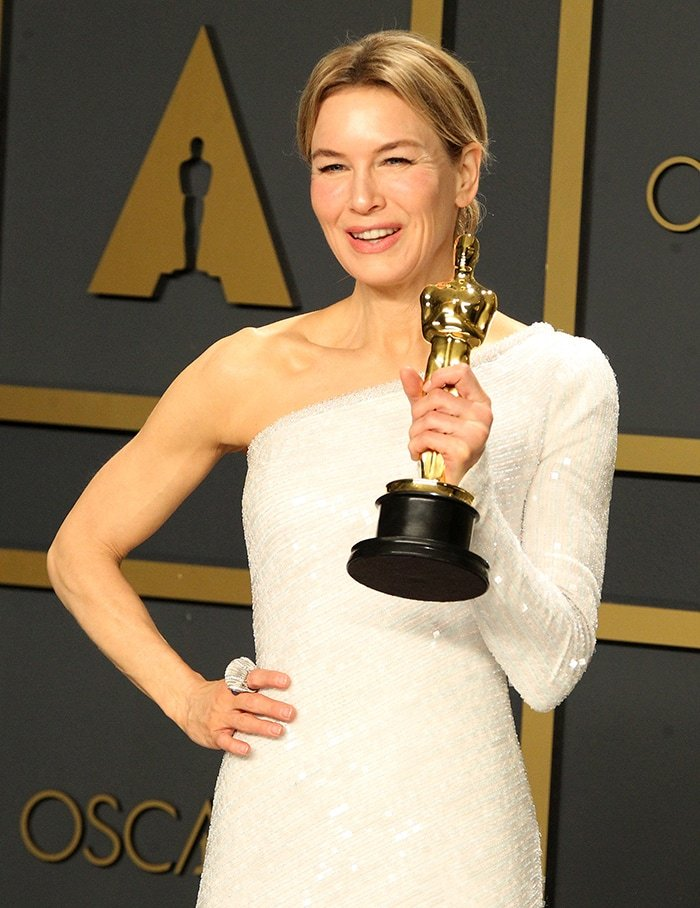 Renee Zellweger wins her first Oscar Best Actress trophy during the 2020 Academy Awards on February 9, 2020