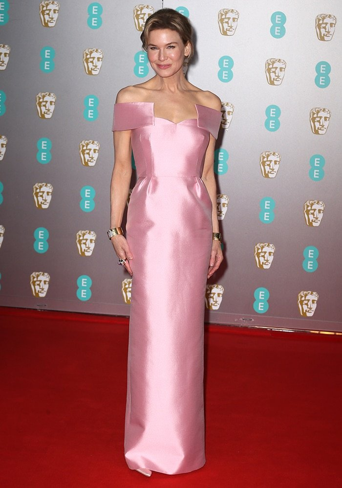 Renee Zellweger stuns in a pink Prada column dress at the 73rd EE British Academy Film Awards 2020 held at the Royal Albert Hall on February 2, 2020