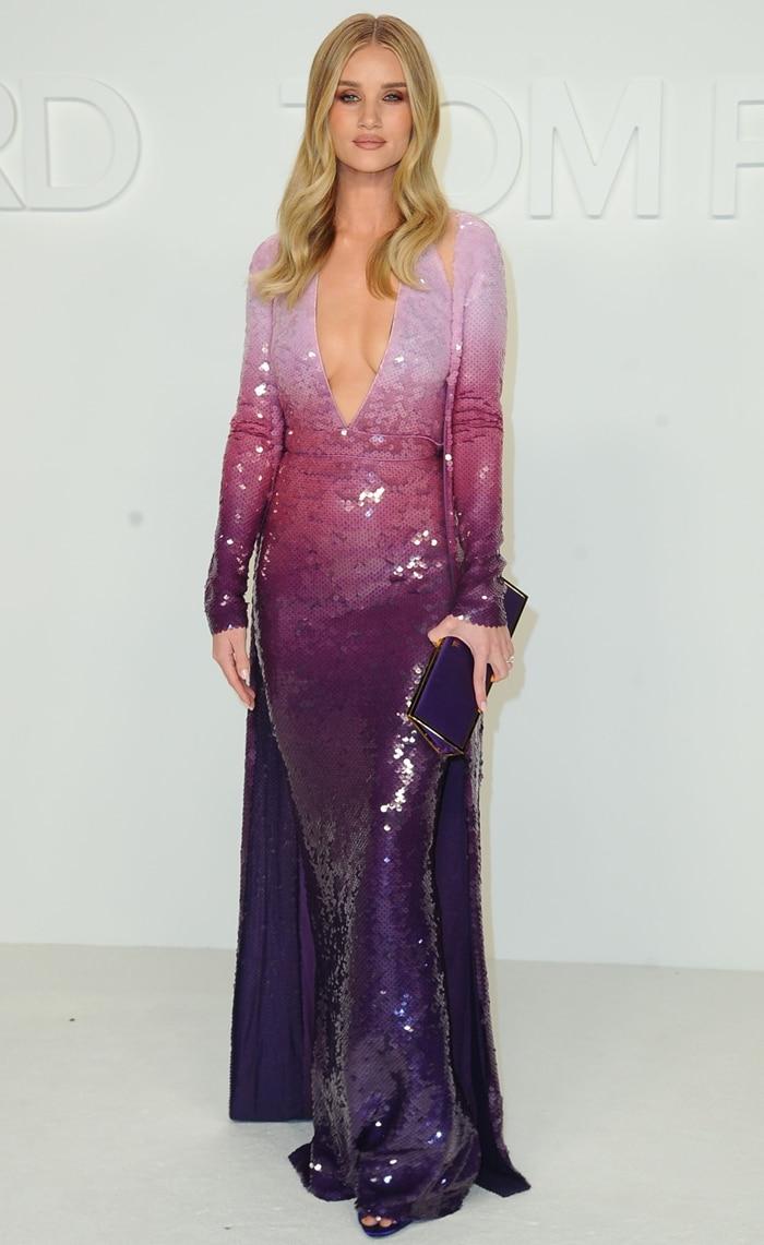 Rosie Huntington-Whiteley's purple pattern dress with degradé sequins